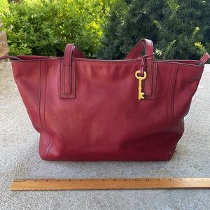 Fossil Sydney Shopper tote purse deep red leather